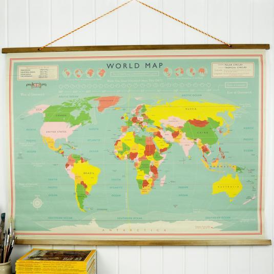 World Map Wall Chart | Rex London (dotcomgiftshop)