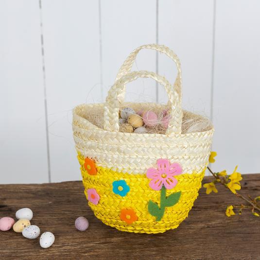 Yellow Children's Straw Basket
