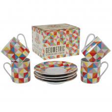 Set Of 4 Multicolour Geometric Espresso Cups And Saucers