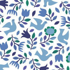 Wrapping paper blue doves print