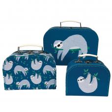 Set of three nesting storage cases with sloth print