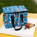 Blue and black flowers print insulated Lunch Bag
