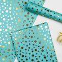 Gold spots print blue wrapping paper