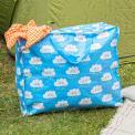 large blue storage bag with handles and zip cloud printed