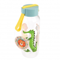 Small Water Bottle with blue lid and crocodile print