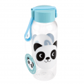 Small children's Water Bottle with blue lid and panda print