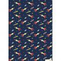 Sheet of rocket printed navy blue wrap