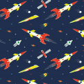 Space rocket print wrapping paper (set of 5 sheets)