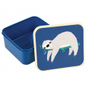 Blue plastic lunch box with Sydney the Sloth design