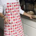 Red Apple Print Cotton Apron