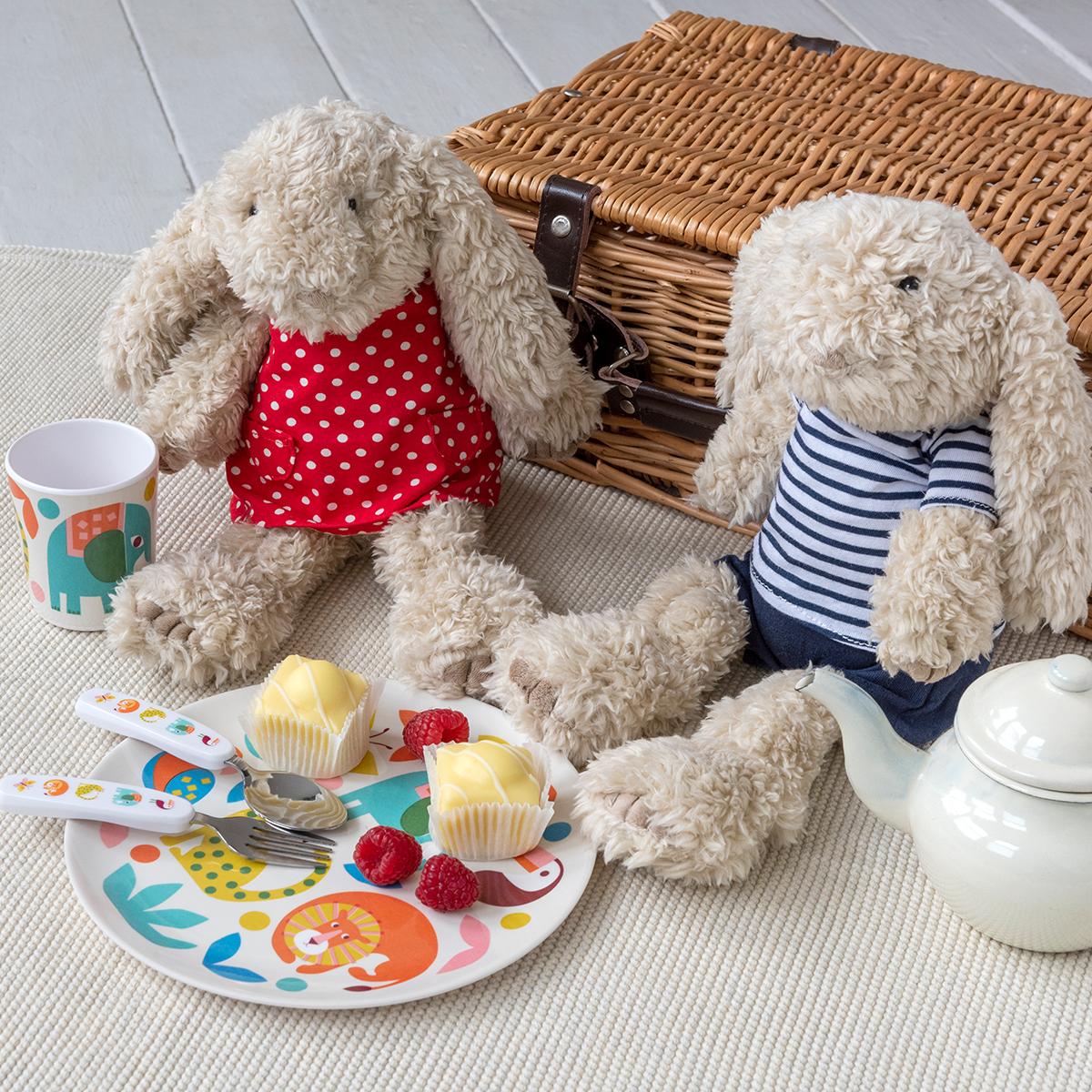 Teddy bears picnic with pot of tea