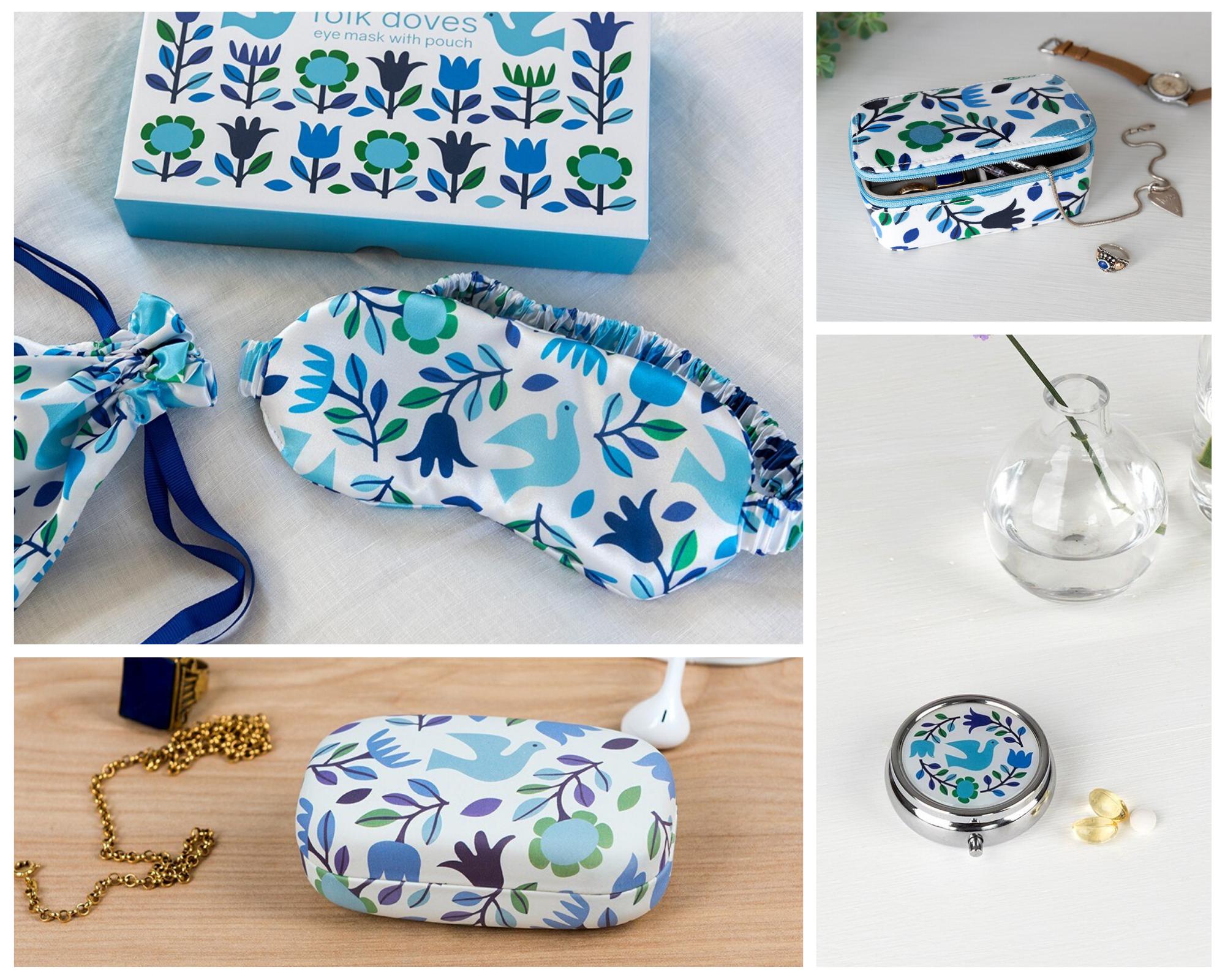 Folk Doves eye mask, jewellery box, pill box, mini travel case