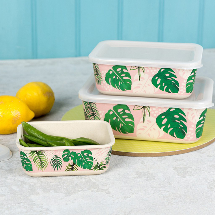 Tropical Palm bamboo storage boxes