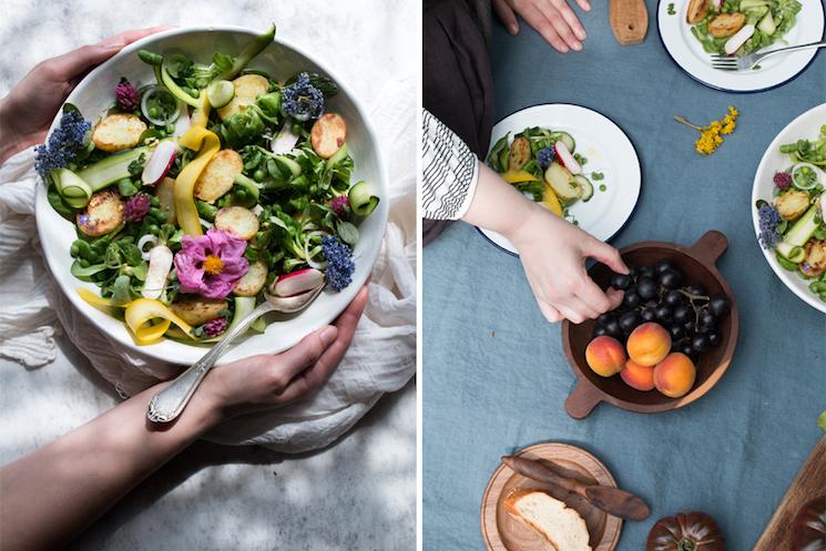 vegan spring salad with warm potatoes