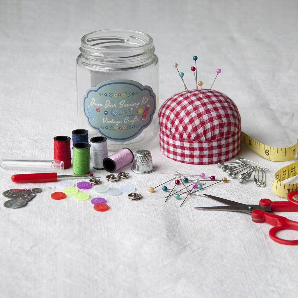 Craft Ideas Empty Jam Jars: Vintage Crafts Jam Jar Sewing Kit
