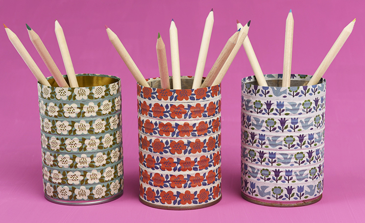 Tin cans covered with washi tape
