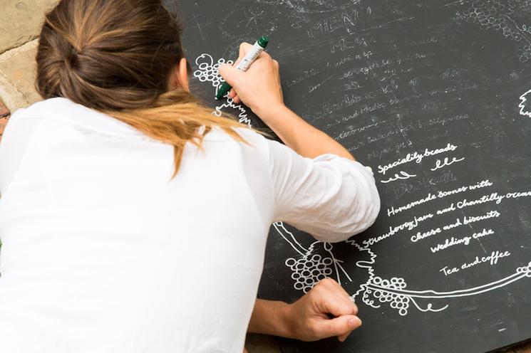 Woman writing chalkboard wedding sign