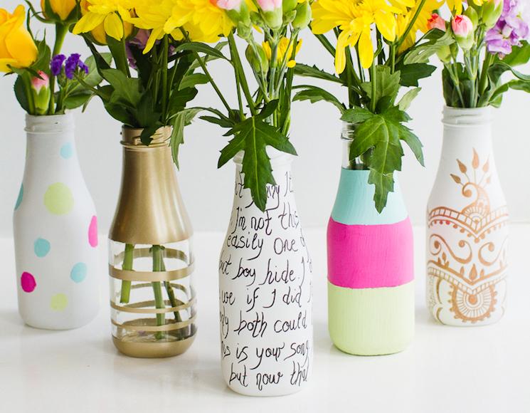 Hand-decorated glass bottle flower vases