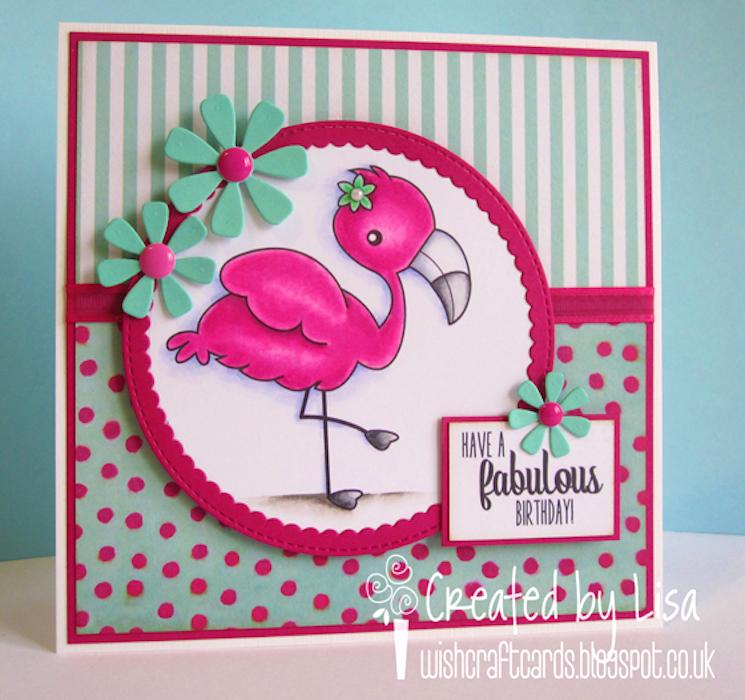 Homemade flamingo greetings card