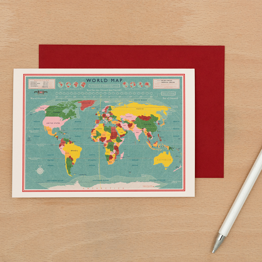 World Map Card Rex London Dotcomgiftshop
