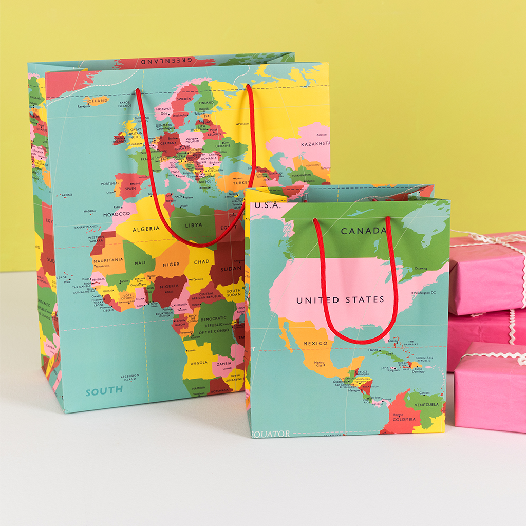 World Map Gift Bags.Small World Map Gift Bag Rex London Dotcomgiftshop