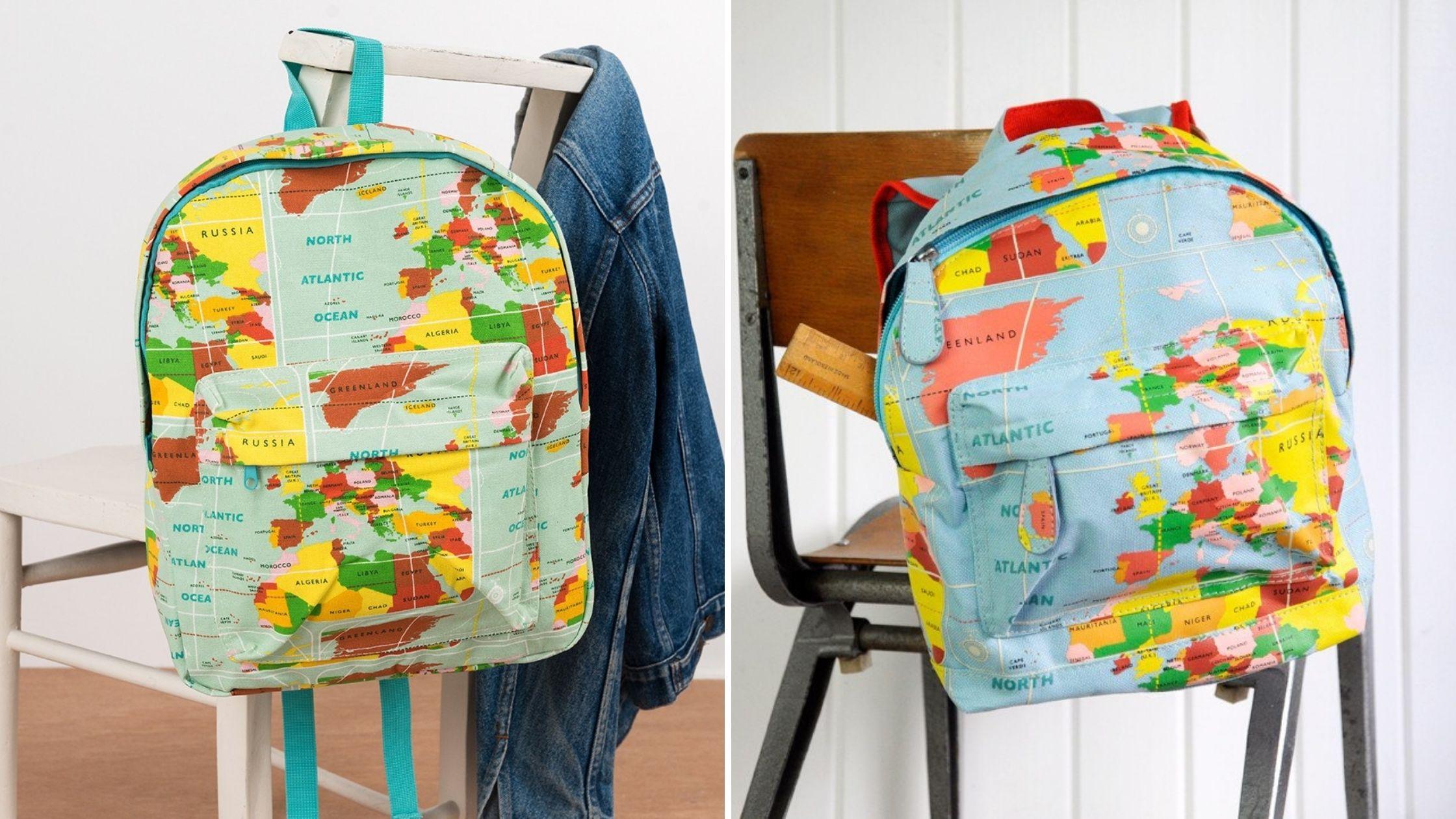 World Map matching backpacks