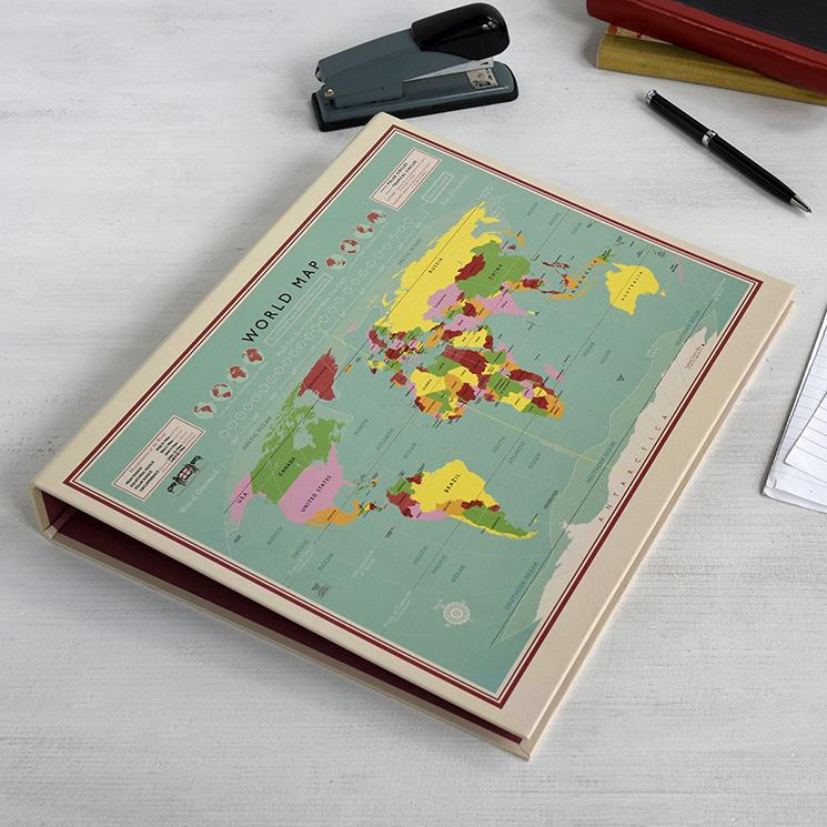 World Map ring binder