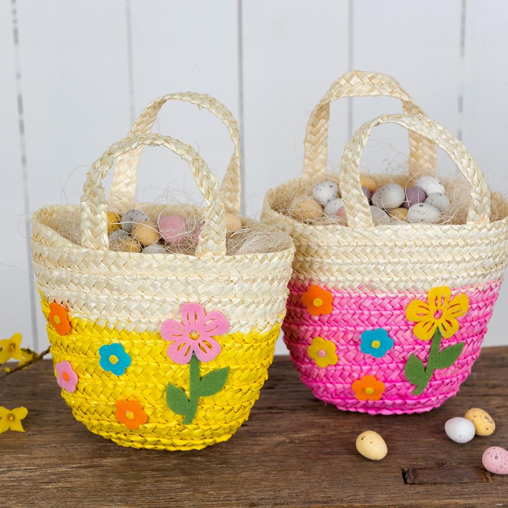 Yellow woven flower basket rex london at dotcomgiftshop childrens straw baskets negle Choice Image